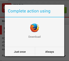 Firefox: App download screen